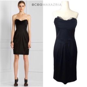 BCBG Black Corseted Satin Strapless Dress NWOT - 6